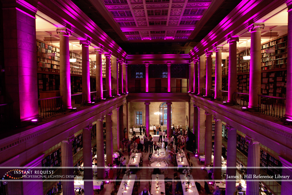 Wedding led uplighting at James J Hill 13
