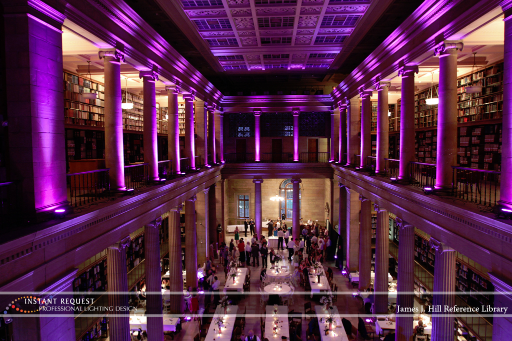 Wedding led uplighting at James J Hill 14