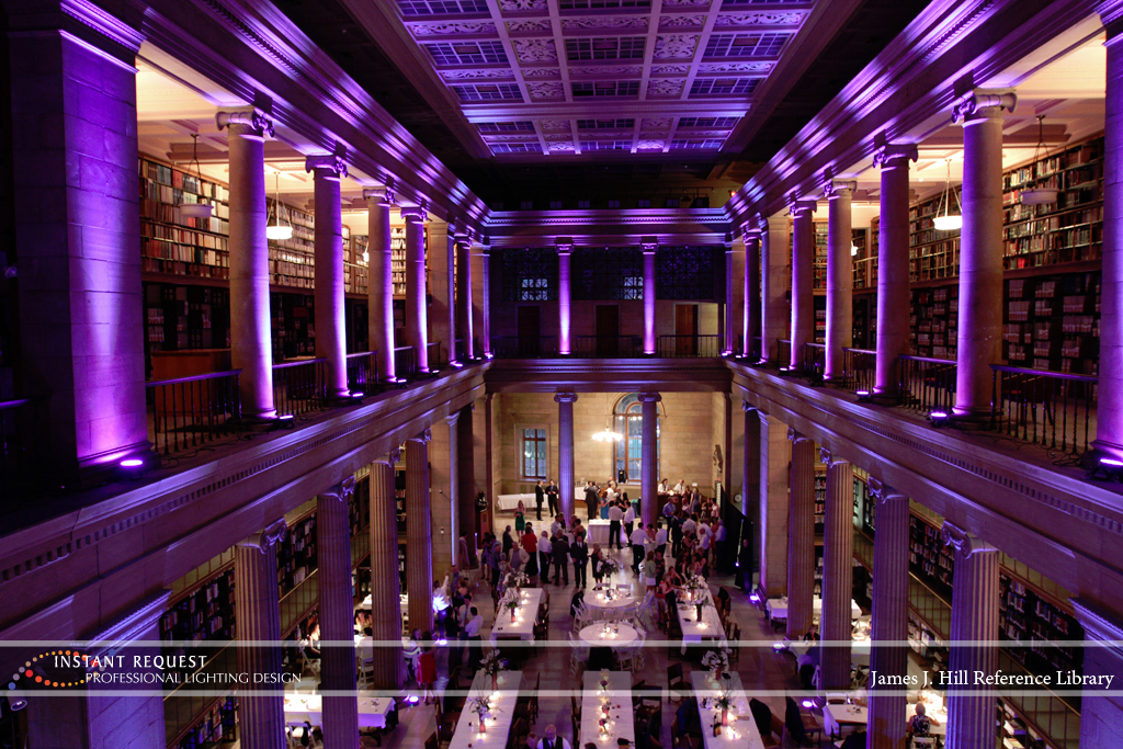 Wedding led uplighting at James J Hill 15