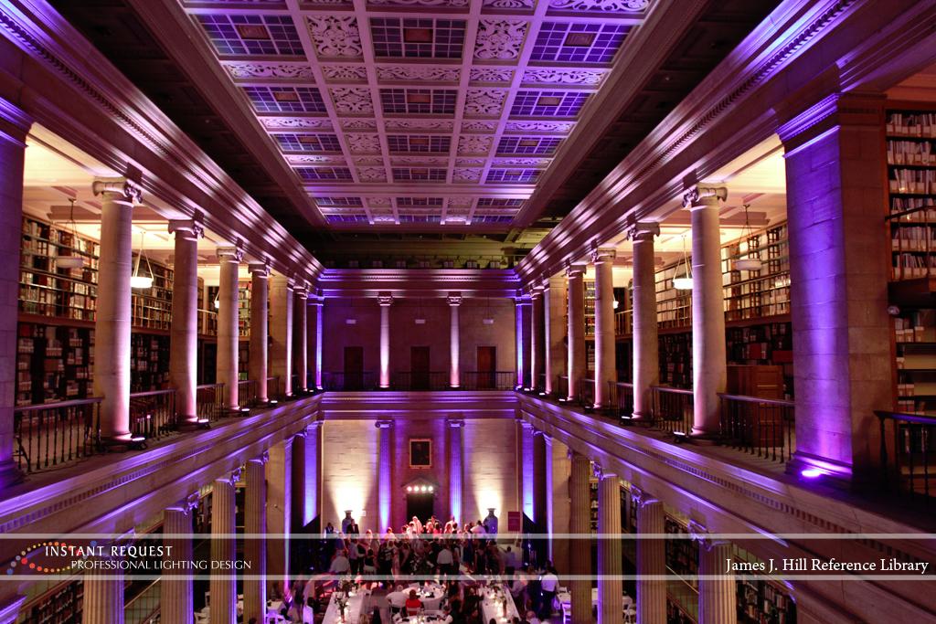 Wedding led uplighting at James J Hill 17