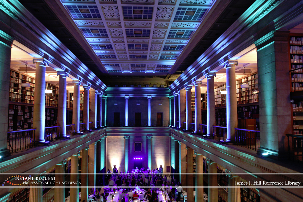 Wedding led uplighting at James J Hill 18