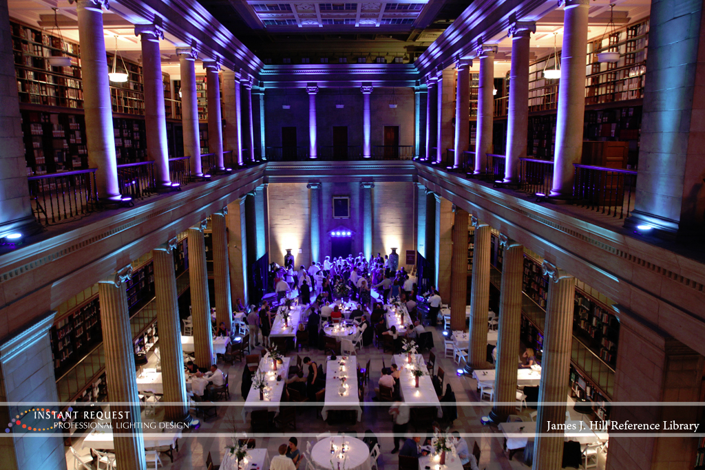 Wedding led uplighting at James J Hill 19