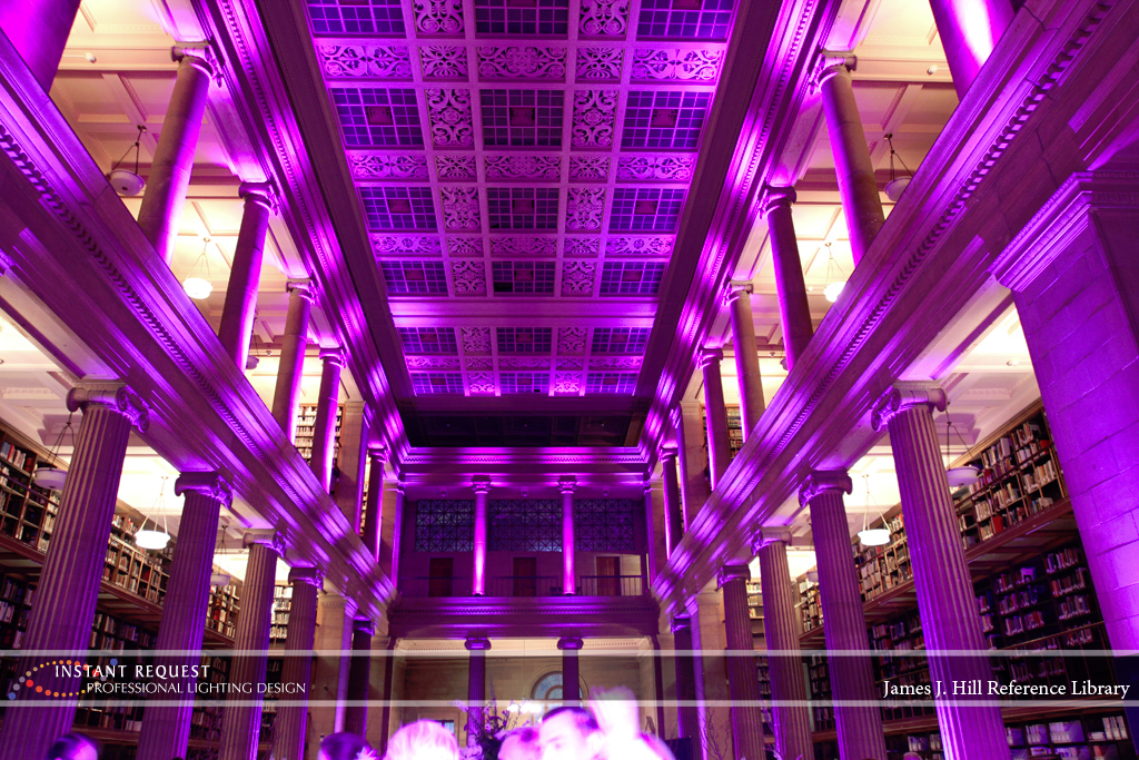 Wedding led uplighting at James J Hill 2