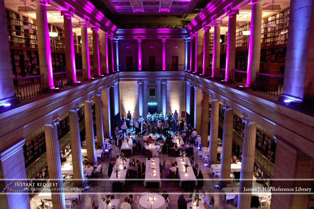 Wedding led uplighting at James J Hill 21