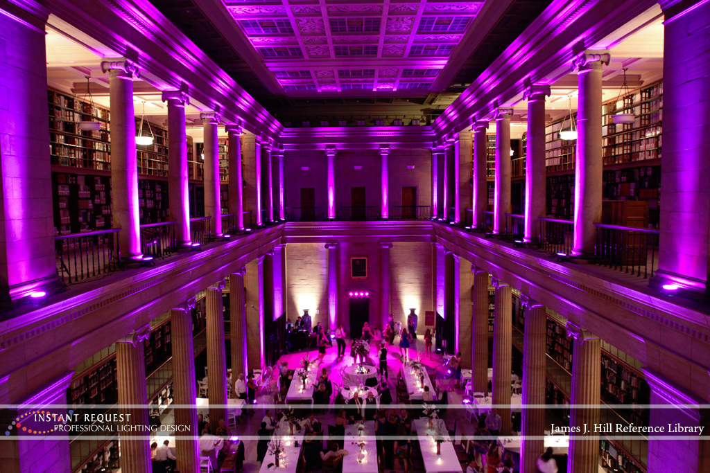 Wedding led uplighting at James J Hill 6