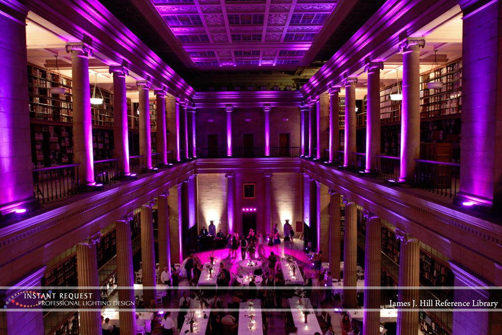 Wedding led uplighting at James J Hill 9