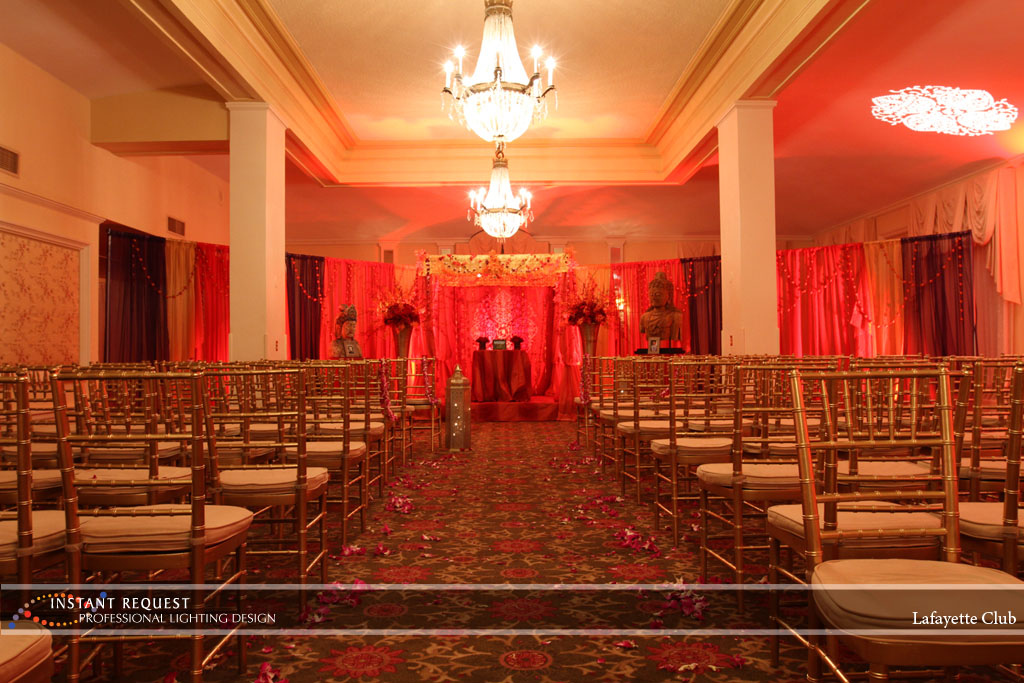 Wedding led uplighting at Lafayette Club 13