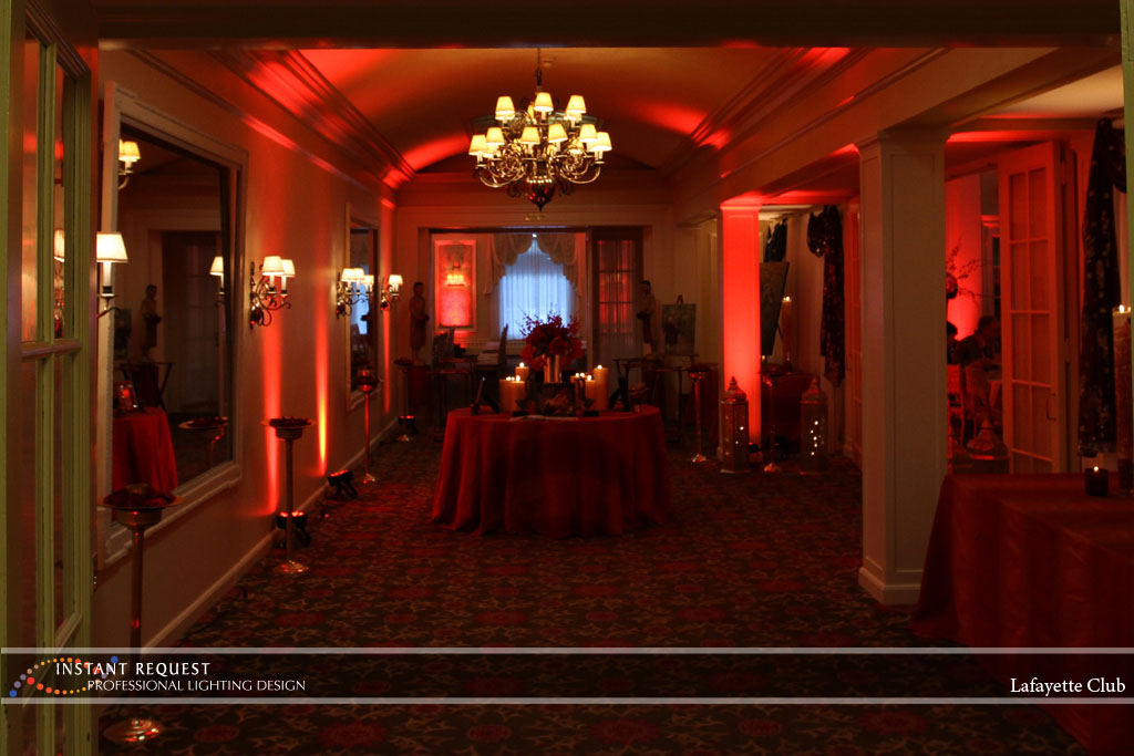 Wedding led uplighting at Lafayette Club 21