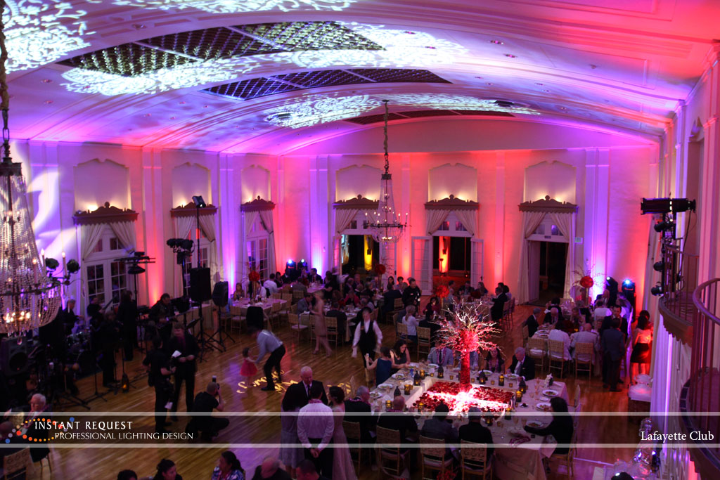 Wedding led uplighting at Lafayette Club 24