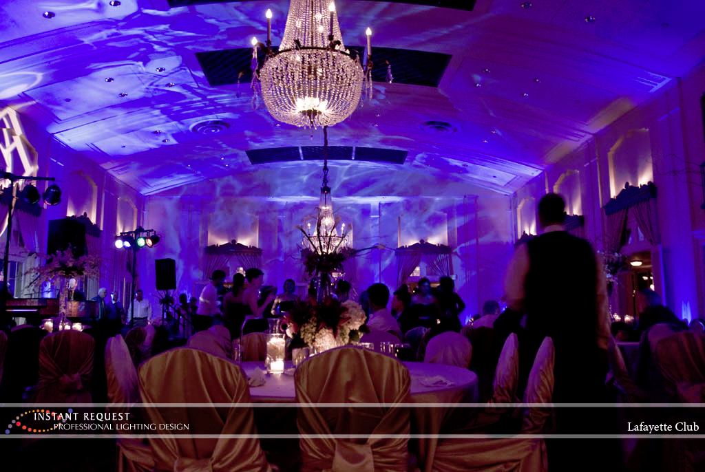 Wedding led uplighting at Lafayette Club 9