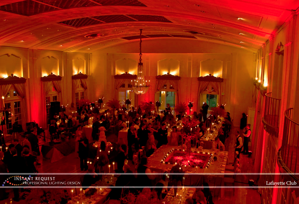Wedding led uplighting at Lafayette Club 1