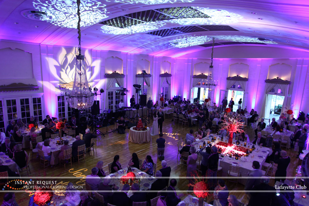 Wedding led uplighting at Lafayette Club 17