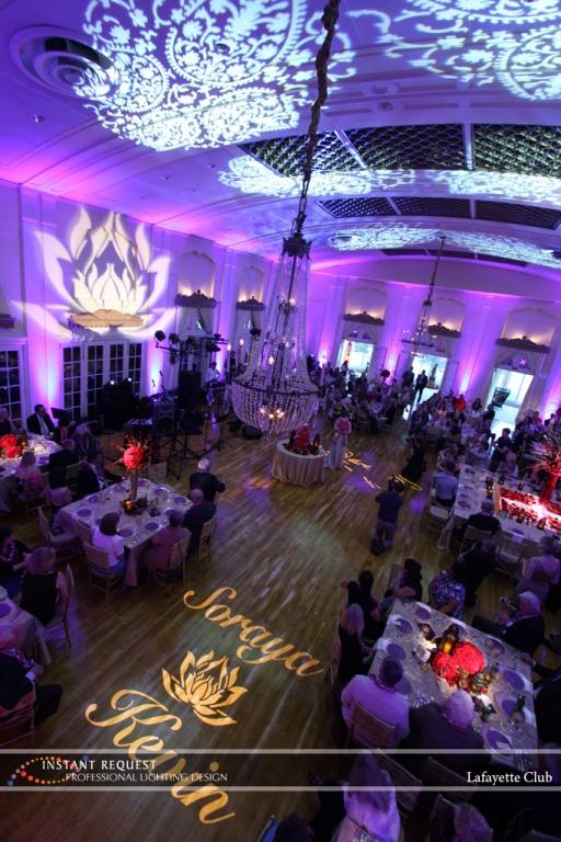 Wedding led uplighting at Lafayette Club 19