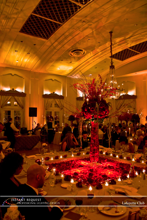 Wedding led uplighting at Lafayette Club 2