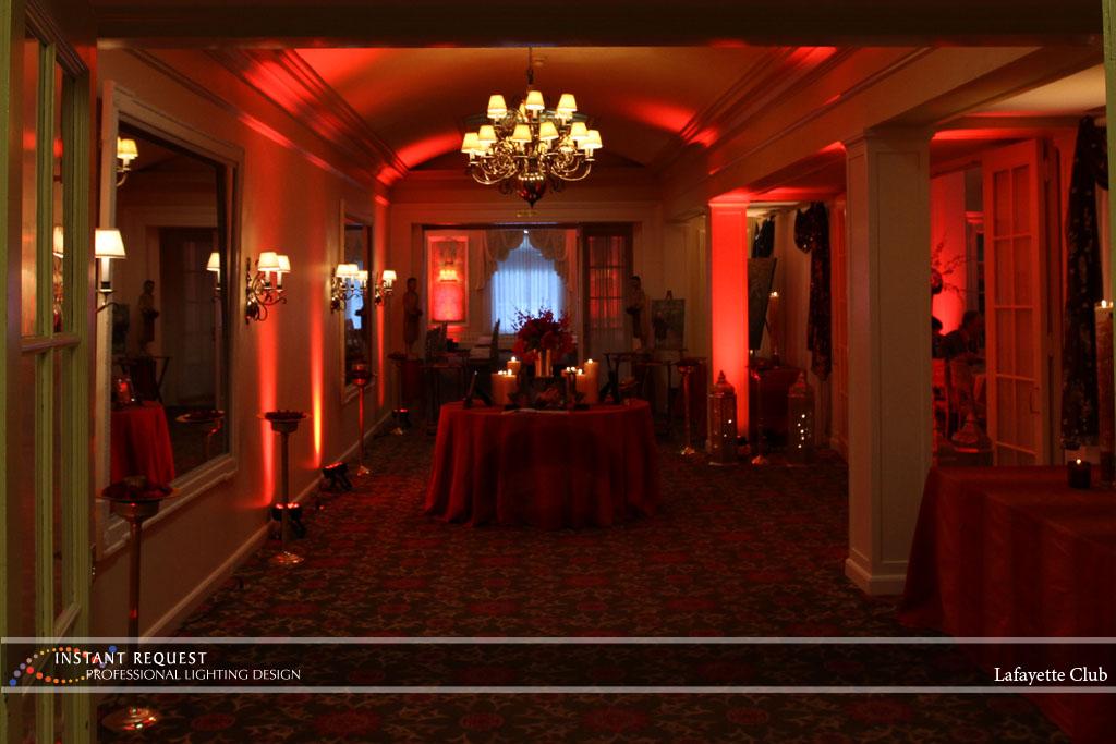 Wedding led uplighting at Lafayette Club 21