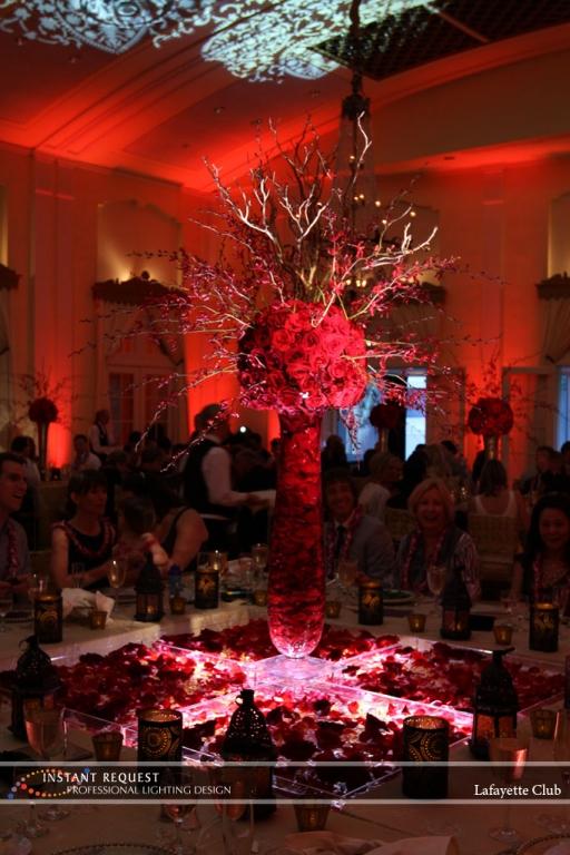 Wedding led uplighting at Lafayette Club 22