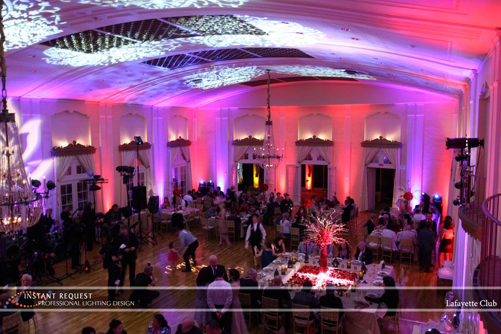 Wedding led uplighting at Lafayette Club 24