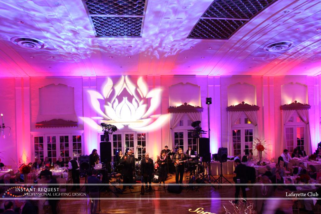 Wedding led uplighting at Lafayette Club 25