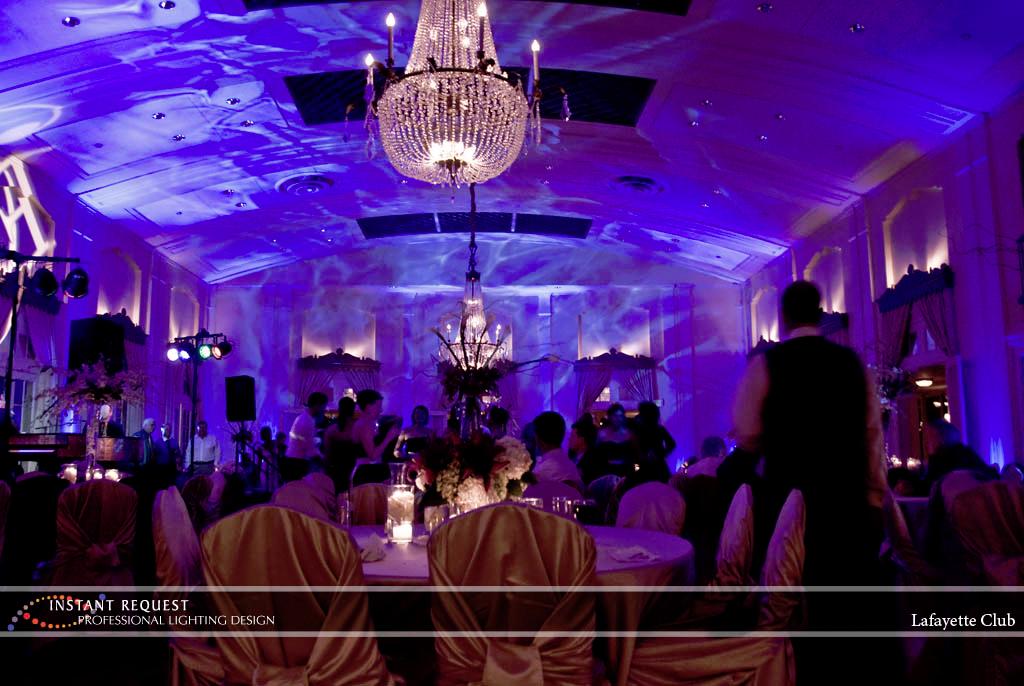 Wedding led uplighting at Lafayette Club 9