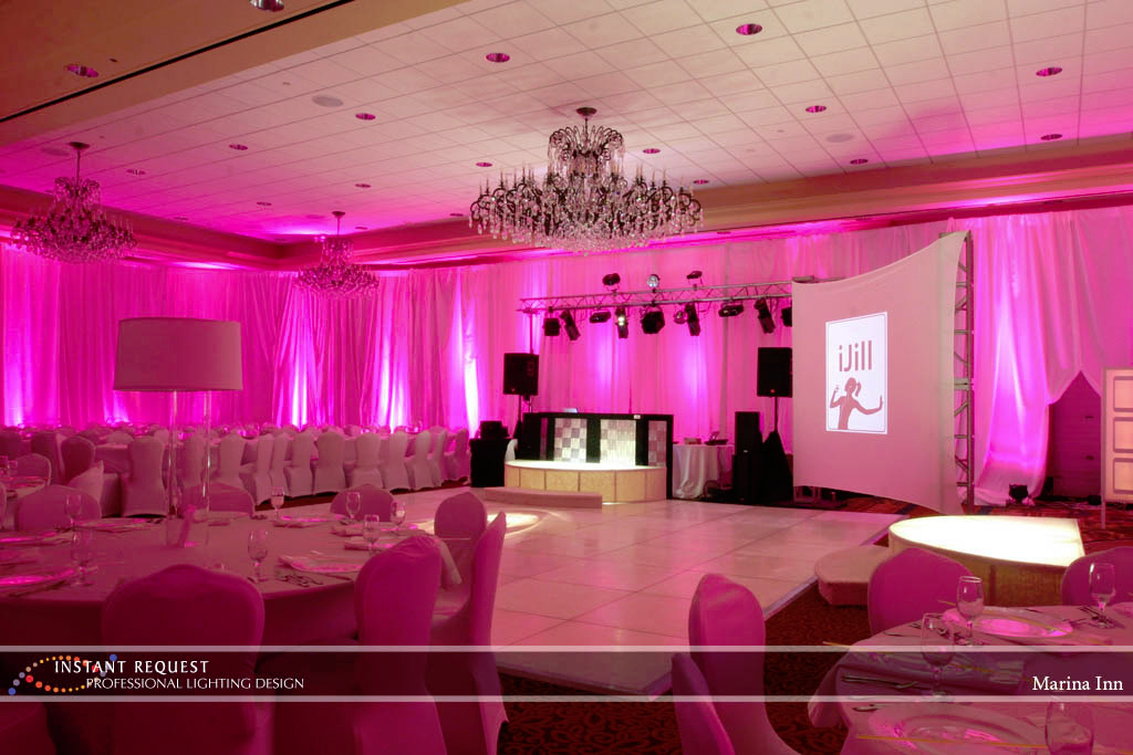 Wedding led uplighting at Marina Inn 1