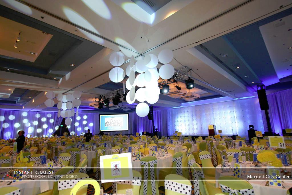 Wedding led uplighting at Marriott 2