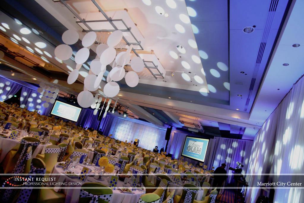 Wedding led uplighting at Marriott 3