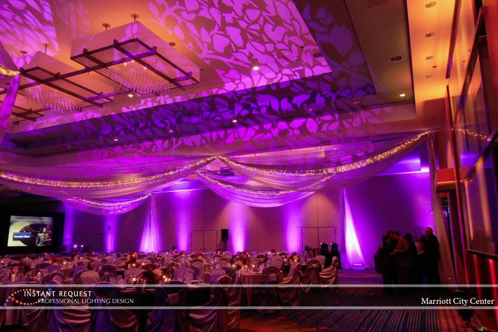 Wedding led uplighting at Marriott 4