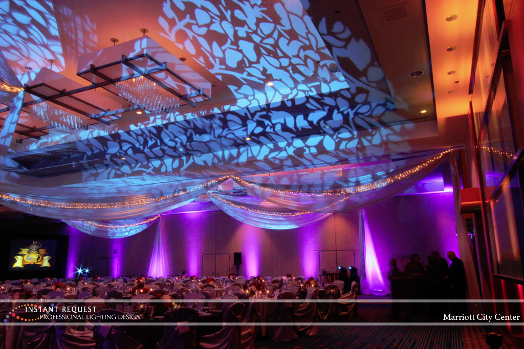 Wedding led uplighting at Marriott 5