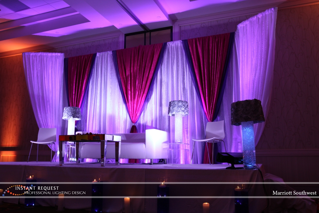 Wedding led uplighting at Marriott 10