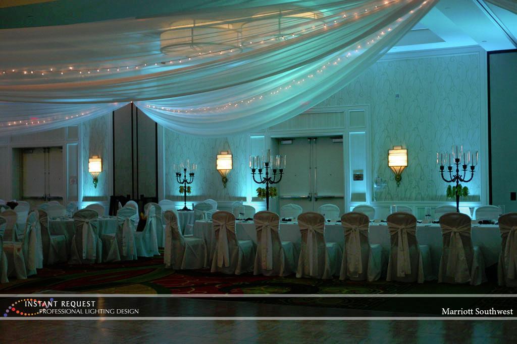Wedding led uplighting at Marriott 1
