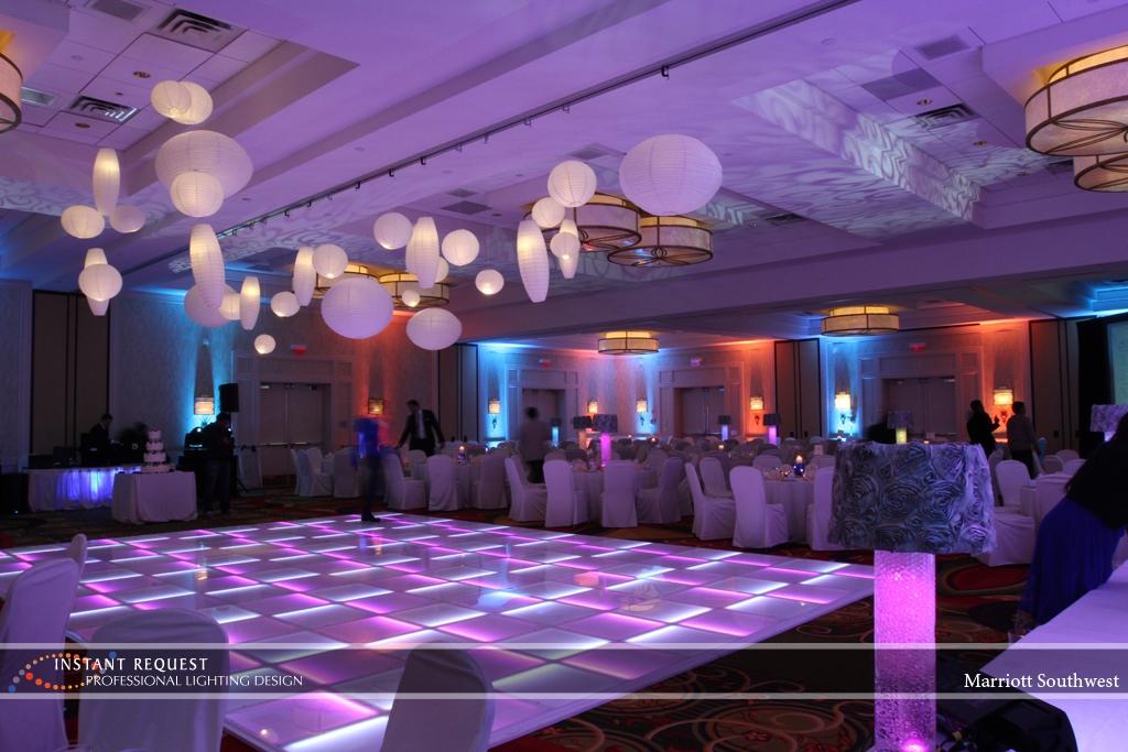 Wedding led uplighting at Marriott 11