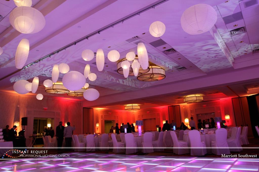 Wedding led uplighting at Marriott 7