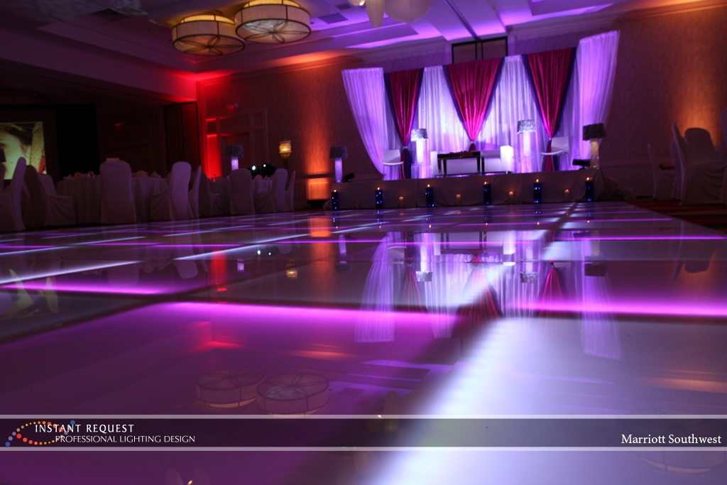 Wedding led uplighting at Marriott 9