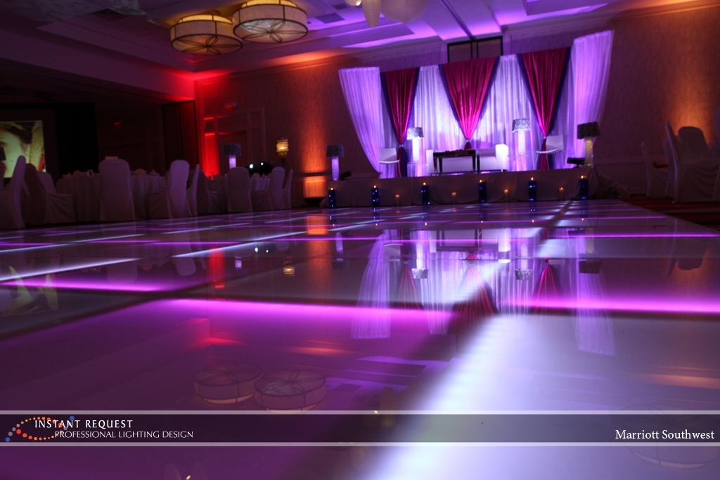 Wedding led uplighting at Marriott 9