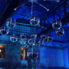 Mirror Ball chandelier at Timerwolves  and Lynx party at Aria