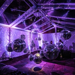 Mirror Ball installation in Navitrack Tent at Minneapolis Event Center for Bday party