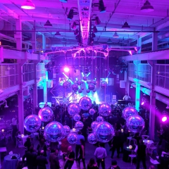 Two Mirror Ball Chandeliers at The Machine Shop in Minneapolis