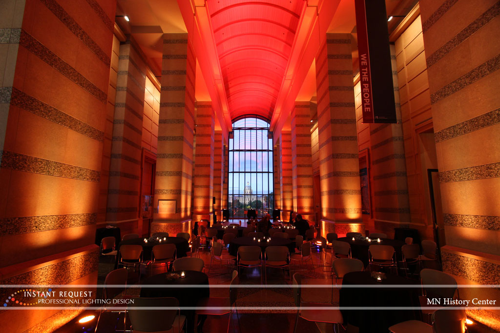 Wedding led uplighting at MN History Center 1