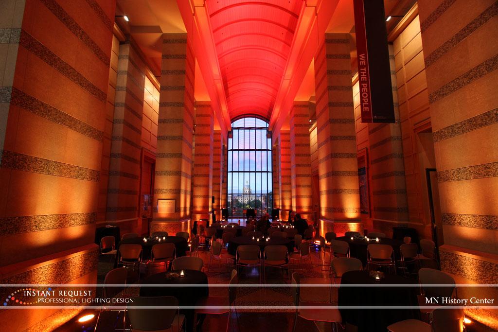 Wedding led uplighting at MN History Center 1