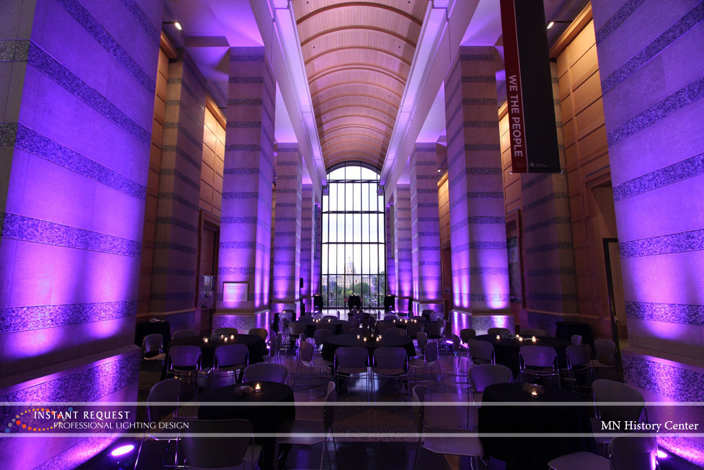 Wedding led uplighting at MN History Center 10