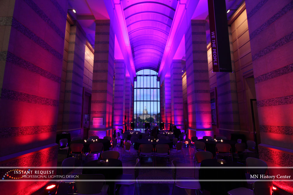 Wedding led uplighting at MN History Center 11