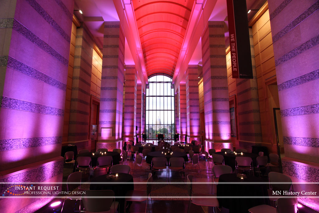 Wedding led uplighting at MN History Center 12
