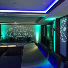 Vegas themed Christmas party lighting