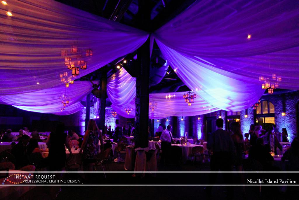Wedding led uplighting at Nicollet Island Pavilion 1