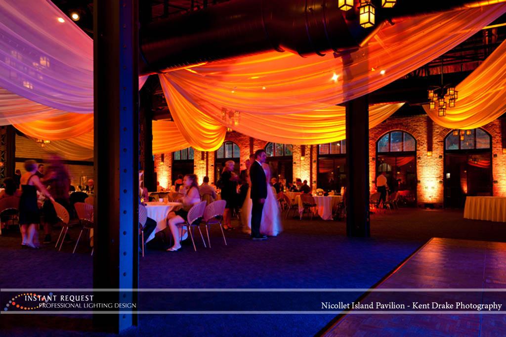 Wedding led uplighting at Nicollet Island Pavilion 2