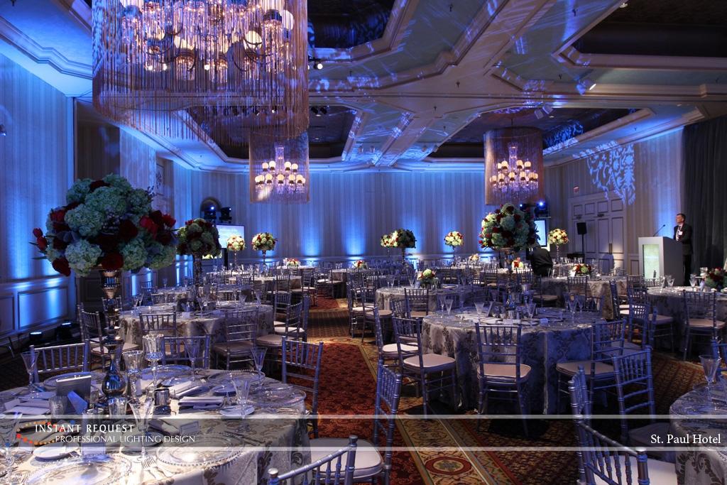 Wedding led uplighting at St Paul Hotel 1