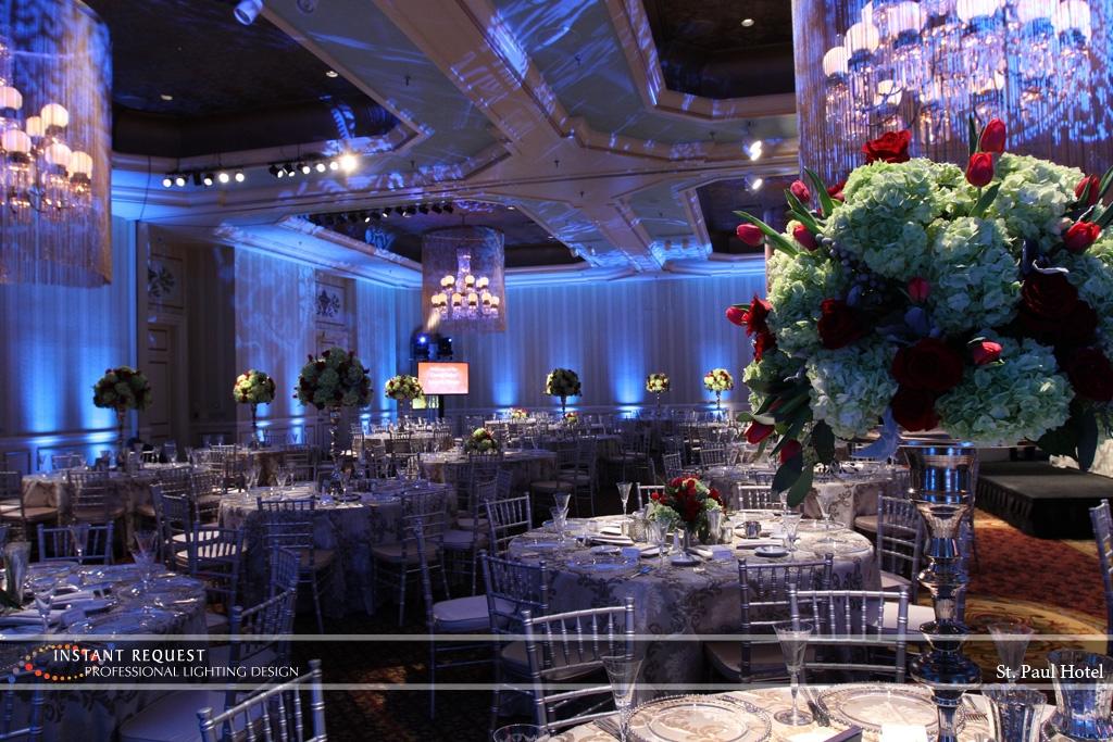 Wedding led uplighting at St Paul Hotel 2