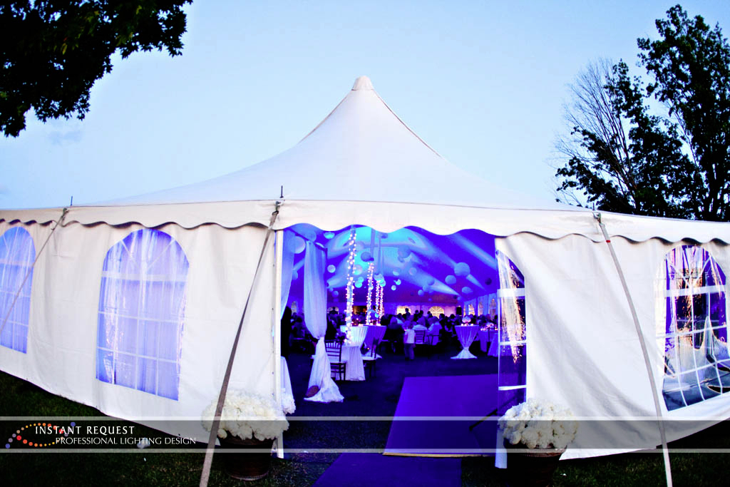Wedding led uplighting at Tent 7