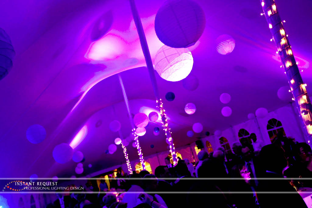 Wedding led uplighting at Tent 10
