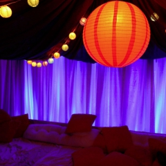 Wedding led uplighting at Tent 3